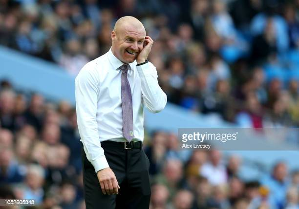 Sean Dyche Manager of Burnley reacts during the Premier League match between Manchester City and Burnley FC at Etihad Stadium on October 20 2018 in...