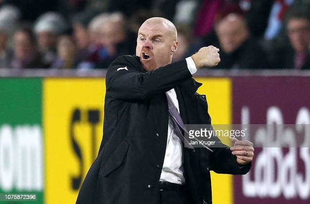 Sean Dyche Manager of Burnley reacts during the Premier League match between Burnley FC and West Ham United at Turf Moor on December 29 2018 in...