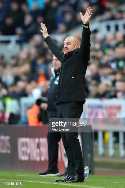 Sean Dyche Manager of Burnley reacts during the Premier League match between Newcastle United and Burnley FC at St James Park on February 29 2020 in...