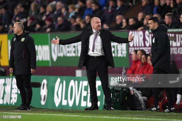 Sean Dyche Manager of Burnley reacts during the Premier League match between Burnley FC and Tottenham Hotspur at Turf Moor on March 07 2020 in...