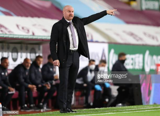 Sean Dyche Manager of Burnley reacts during the Premier League match between Burnley and Southampton at Turf Moor on September 26 2020 in Burnley...