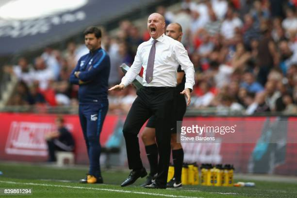 Sean Dyche Manager of Burnley reacts during the Premier League match between Tottenham Hotspur and Burnley at Wembley Stadium on August 27 2017 in...