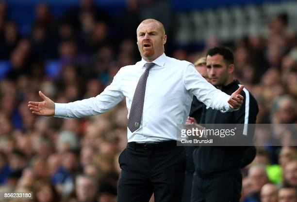 Sean Dyche Manager of Burnley reacts during the Premier League match between Everton and Burnley at Goodison Park on October 1 2017 in Liverpool...