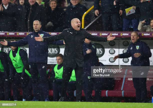 Sean Dyche Manager of Burnley reacts during the Premier League match between Burnley and Watford at Turf Moor on December 9 2017 in Burnley England