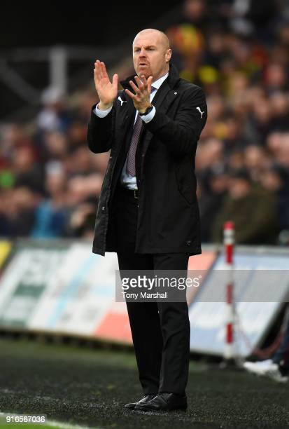 Sean Dyche Manager of Burnley reacts during the Premier League match between Swansea City and Burnley at Liberty Stadium on February 10 2018 in...