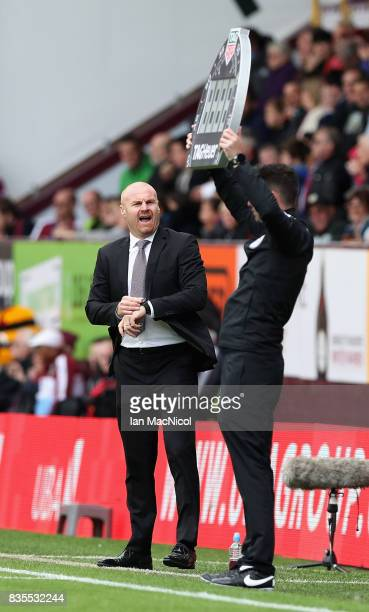 Sean Dyche Manager of Burnley shouts at the fourth official during the Premier League match between Burnley and West Bromwich Albion at Turf Moor on...