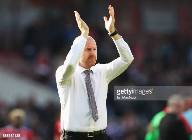 Sean Dyche Manager of Burnley shows appreciation to the fans after the Premier League match between Middlesbrough and Burnley at Riverside Stadium on...