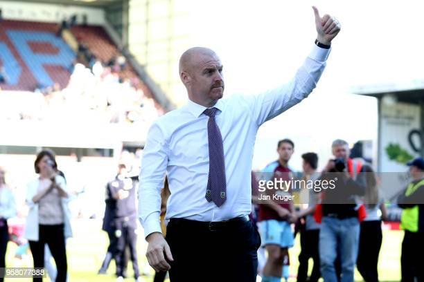 Sean Dyche Manager of Burnley shows appreciation to the fans after the Premier League match between Burnley and AFC Bournemouth at Turf Moor on May...