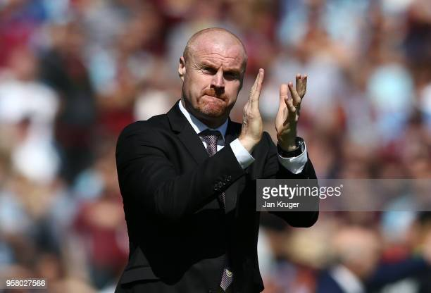Sean Dyche Manager of Burnley shows appreciation to the fans prior to the Premier League match between Burnley and AFC Bournemouth at Turf Moor on...