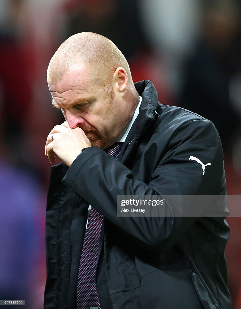 Sean Dyche, Manager of Burnley shows his dejection after his team's 0-2 defeat in the Premier League match between Stoke City and Burnley at Bet365 Stadium on December 3, 2016 in Stoke on Trent, England.