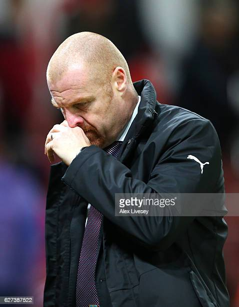 Sean Dyche, Manager of Burnley shows his dejection after his team's 0-2 defeat in the Premier League match between Stoke City and Burnley at Bet365...