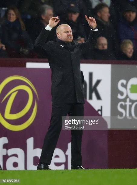 Sean Dyche Manager of Burnley shows his emotion during the Premier League match between Burnley and Stoke City at Turf Moor on December 12 2017 in...