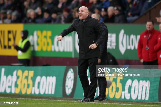 Sean Dyche of Burnley during the Premier League match between Burnley FC and AFC Bournemouth at Turf Moor on February 22 2020 in Burnley United...