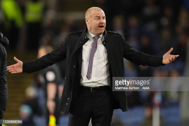 Sean Dyche the head coach / manager of Burnley during the Premier League match between Burnley FC and Tottenham Hotspur at Turf Moor on March 7 2020...