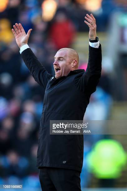 Sean Dyche the head coach / manager of Burnley reacts during the Premier League match between Burnley FC and Southampton FC at Turf Moor on February...