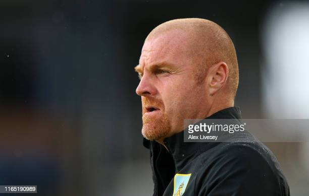 Sean Dyche the manager of Burnley looks on during a pre-season friendly match between Burnley and Nice at Turf Moor on July 30, 2019 in Burnley,...