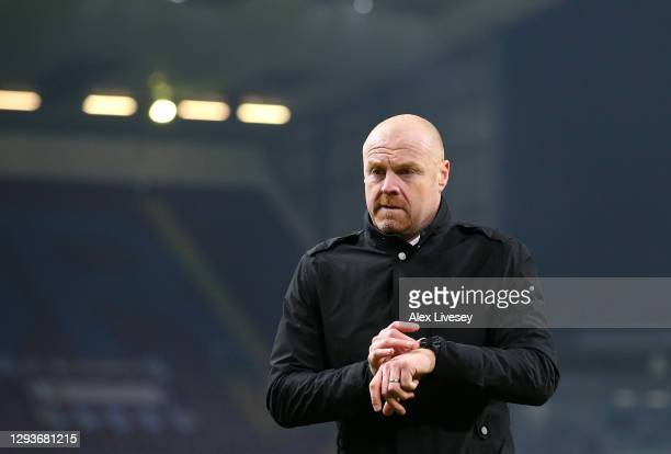 Sean Dyche the manager of Burnley looks on during the Premier League match between Burnley and Sheffield United at Turf Moor on December 29, 2020 in...
