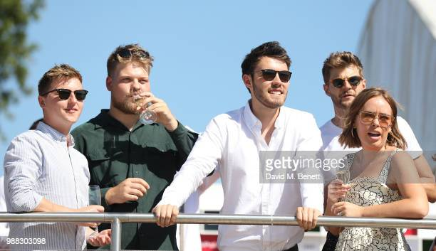 Sean Elliott Zach Lower Alfie Deyes Jim Chapman and Tanya Burr attend the Audi Polo Challenge at Coworth Park Polo Club on June 30 2018 in Ascot...