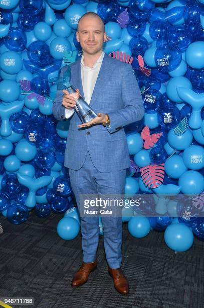 Sean Evans of Hot Ones poses with Best Web Series award backstage during the 10th Annual Shorty Awards at PlayStation Theater on April 15, 2018 in...