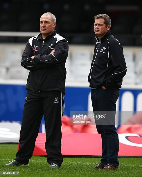 Sean Everitt with Gary Gold during the Absa Currie Cup match between Cell C Sharks and Xerox Golden Lions at Growthpoint Kings Park on August 22 2015...
