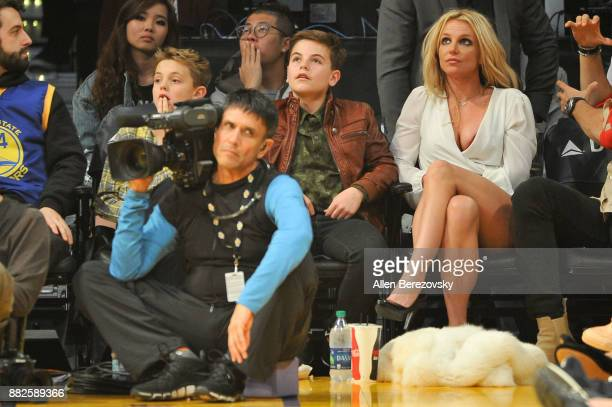 Sean Federline, Jayden James Federline and Britney Spears attend a basketball game between the Los Angeles Lakers and the Golden State Warriors at...