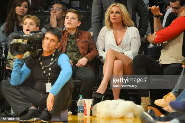 Sean Federline Jayden James Federline and Britney Spears attend a basketball game between the Los Angeles Lakers and the Golden State Warriors at...