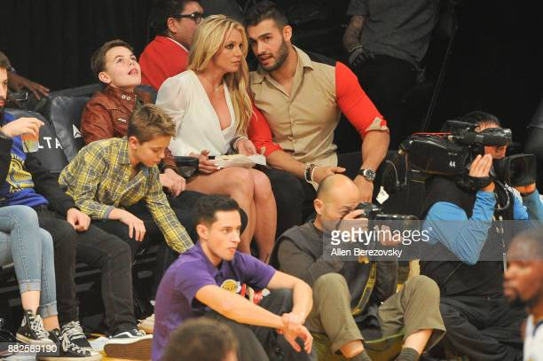 Sean Federline, Jayden James Federline, Britney Spears and Sam Asghari attend a basketball game between the Los Angeles Lakers and the Golden State...