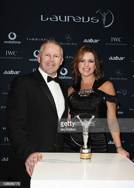 Sean Fitzpatrick and Bronwyn Fitzpatrick attend the 2011 Laureus World Sports Awards at the Emirates Palace on February 7, 2011 in Abu Dhabi, United...