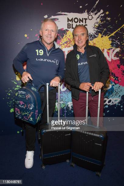 Sean Fitzpatrick and Hugo Porta attend Montblanc X Laureus Sport For Good photocall at Hotel Hermitage during 2019 Laureus World Sports Awards on...