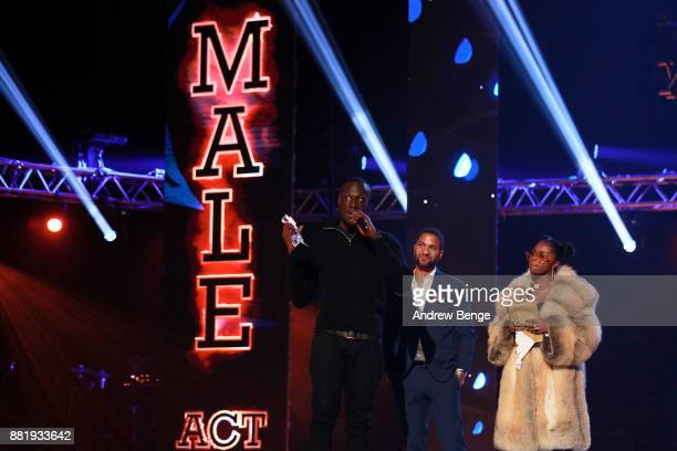 Sean Fletcher and Nadia Rose present Stormzy with the award for Best Male on stage at the MOBO Awards at First Direct Arena Leeds on November 29 2017...
