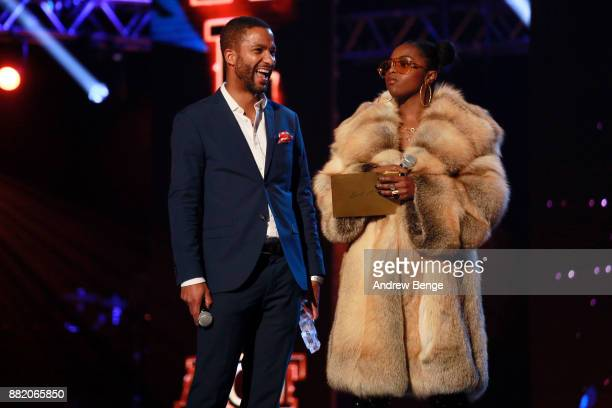 Sean Fletcher and Nadia Rose speak on stage at the MOBO Awards at First Direct Arena Leeds on November 29 2017 in Leeds England