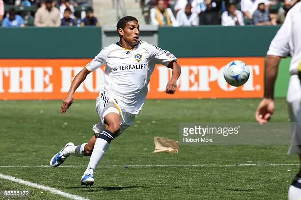Sean Franklin of the Los Angeles Galaxy chases a loose ball against DC United during their MLS game at Home Depot Center on March 22 2009 in Carson...
