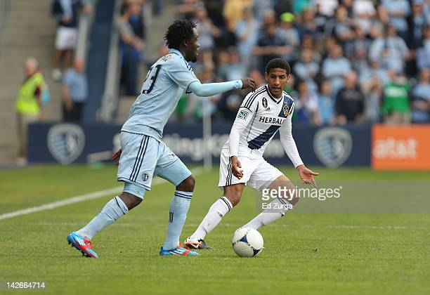 Sean Franklin of the Los Angeles Galaxy defends Kei Kamara of the Sporting Kansas Cityat Livestrong Sporting Park on April 7 2012 in Kansas City...