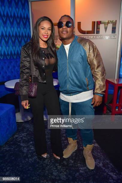 Sean Garrett and Erica Mena attend Love Hip Hop Season 7 Viewing Party at M Bar on March 19 2018 in Atlanta Georgia