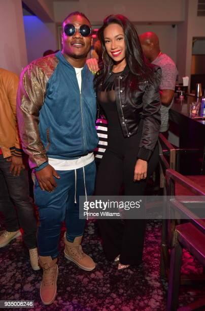 Sean Garrett and Erica Mena attend Love Hip Hop Season 7 Viewing Party at M Bar on March 19 2018 in Atlanta Georgia