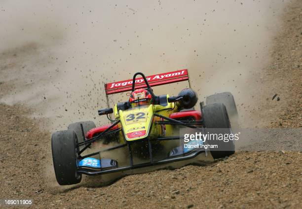 Sean Gelael of Indonesia drives the Double R Racing Dallara F312 Mercedes through the gravel during the FIA European Formula 3 Championship race at...