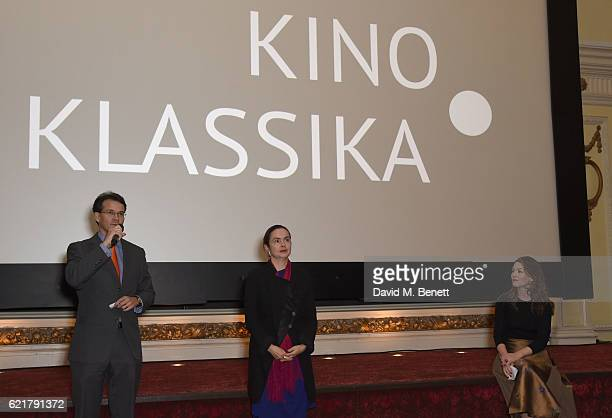 Sean Gilbertson Professor Catriona Kelly and Kino Klassika trustee Justine Waddell attend a screening of Vsevolod Pudovkin's masterpiece 'The End of...