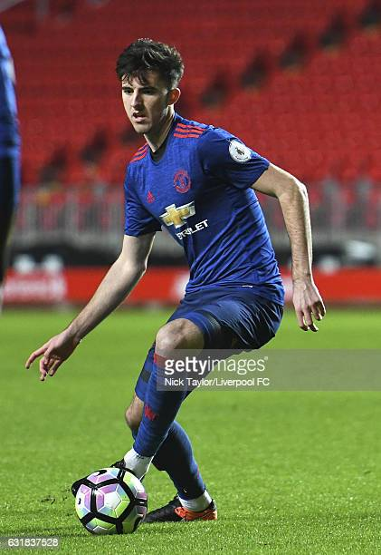 Sean Goss of Manchester United in action during the Liverpool v Manchester United Premier League 2 game at Anfield on January 16 2017 in Liverpool...