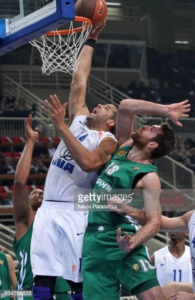Sean Gregory May, # 14 of KK Zagreb competes with Kostas Kaimakoglou, #18 of Panathinaikos Athens during the 2011-2012 Turkish Airlines Euroleague...