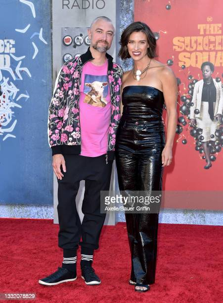 """Sean Gunn and Natasha Halevi attend Warner Bros. Premiere of """"The Suicide Squad"""" at The Landmark Westwood on August 02, 2021 in Los Angeles,..."""