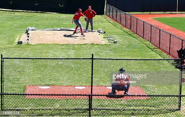 Sean Hagan of the St John's Red Storm warms up in the bullpen prior to pitching against the Rutgers Scarlet Knights during their Big East Conference...