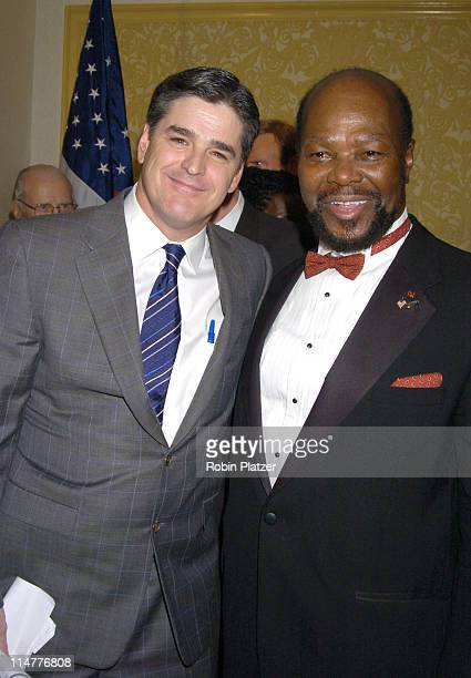 Sean Hannity and Roy Innis during The Congress of Racial Equality Living The Dream Dinner January 17 2005 at The New York Hilton and Towers in New...