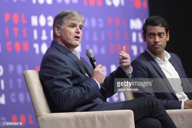 Sean Hannity and Steven Olikara speak onstage during the 2019 Politicon at Music City Center on October 26 2019 in Nashville Tennessee