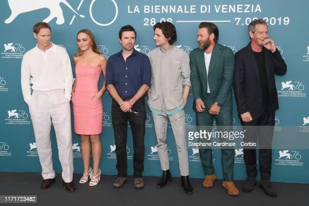 Sean Harris LilyRose Depp Director David Michod Timothee Chalamet Joel Edgerton and Ben Mendelsohn attend The King photocall during the 76th Venice...
