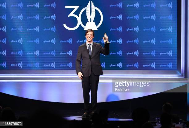 Sean Hayes accepts the Stephen F Kolzak Award onstage during the 30th Annual GLAAD Media Awards Los Angeles at The Beverly Hilton Hotel on March 28...