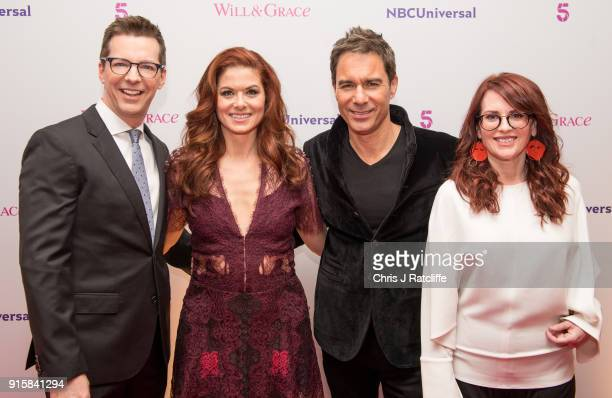 Sean Hayes Debra Messing Eric McCormack and Megan Mullally from Will Grace during a BAFTA screening plus QA at BAFTA on February 8 2018 in London...