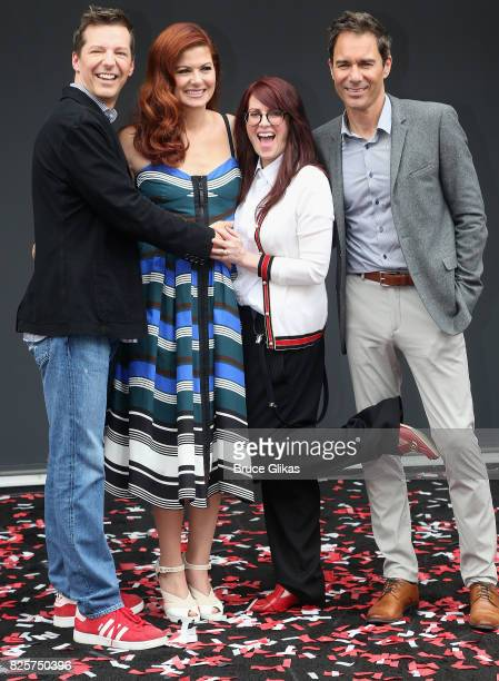 Sean Hayes Debra Messing Megan Mullally and Eric McCormack pose at the 'Will Grace' first day kick off of production event and ribbon cutting...