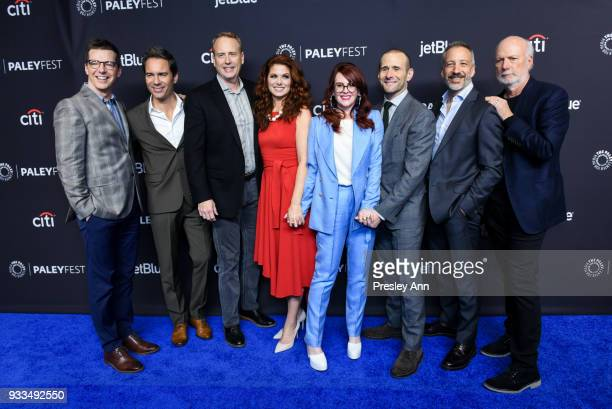 Sean Hayes Eric McCormack Robert Greenblatt Debra Messing Megan Mullally Max Mutchnick David Kohan and James Burrows attend PaleyFest Los Angeles...