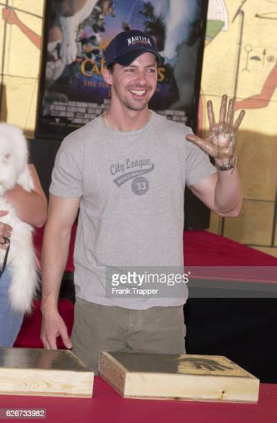 Sean Hayes from the new comedy Cats Dogs A finger and pawprint ceremony took place where hands and paws autographed concrete mementos which will be...