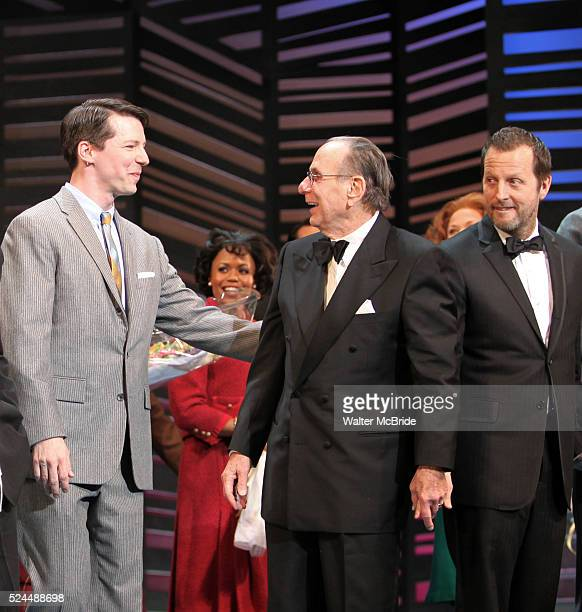 Sean Hayes Hal David Rob Ashford taking a bow on the Opening Night Broadway performance Curtain Call for PROMISES PROMISES at the Broadway Theatre...